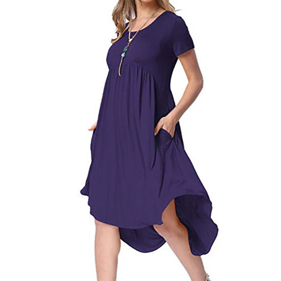 Women′s Pocket High and Low Pleated Loose Round Neck Casual MIDI Dress pictures & photos
