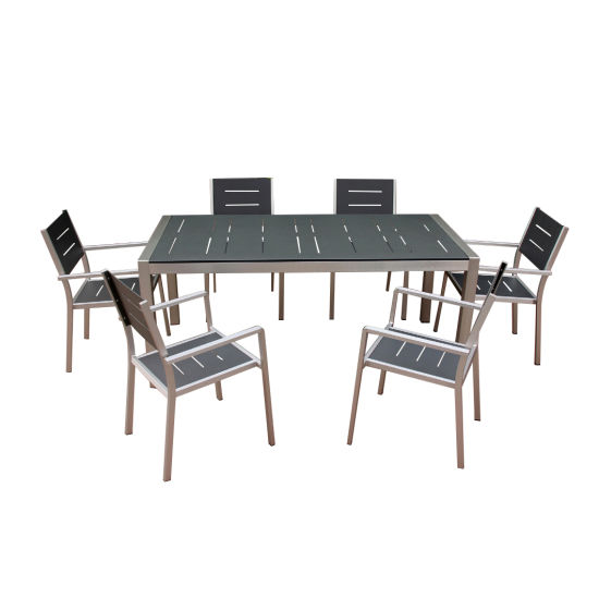 New Style Six Seaters Comfortable Plastic Wood Chair and Table Dining Set Leisure Outdoor Furniture