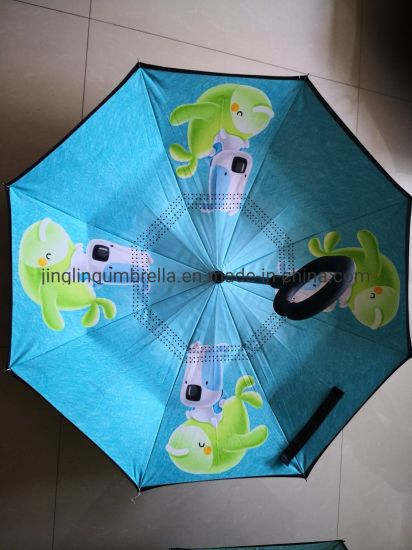 Kid Inverted Umbrella, Nice Design, Fashion Gift Straight Sun/Rain Golf Umbrella, Stronger Double Ribs in Black, Black Metal Shaft, Plastic Handle