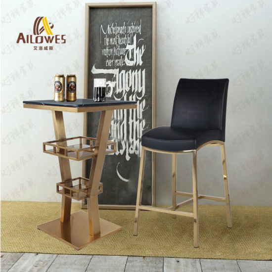 Living Room Metal Bar Furniture Stainless Steel Gold Color High Bar Table Set