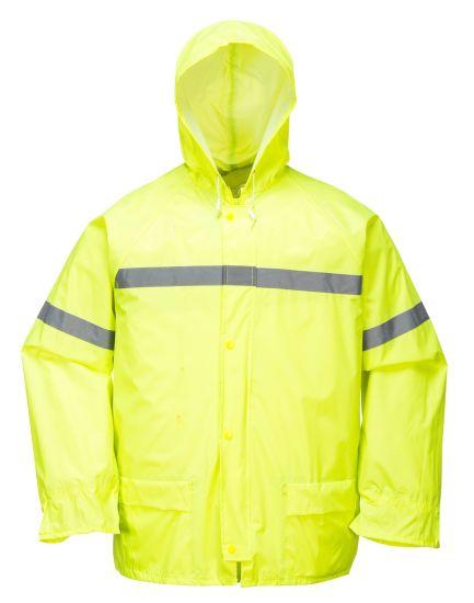 Rain Jacket Pants Unisex Sports Bike Jacket Waterproof Hood REFLECTIVE