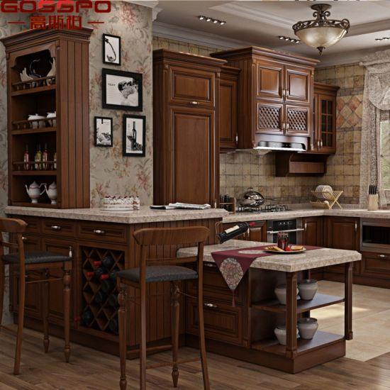 China American Villa Teak Wood Kitchen Cabinet (GSP9-001 ...
