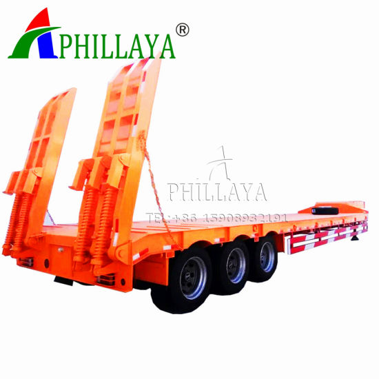 Low Bed Loader Semi Trailer for 80tons Equipment Transporting (03) pictures & photos