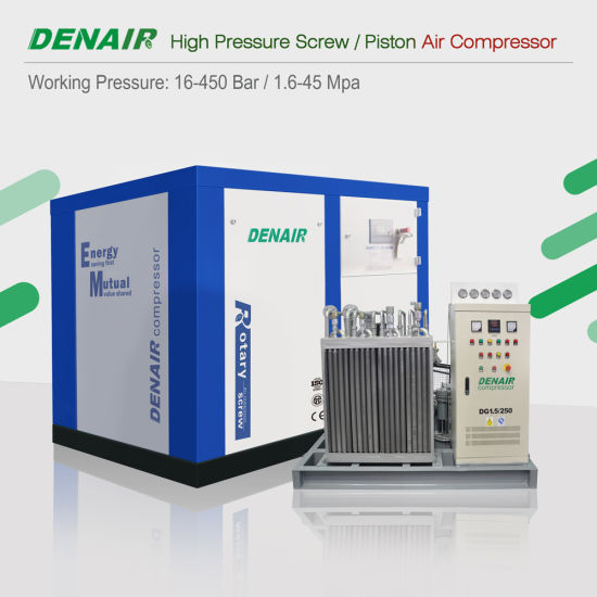 16-40 Bar Fixed Speed Drive Oil Lubricated Two Stage High Pressure Rotary Double Screw Type Air Compressor