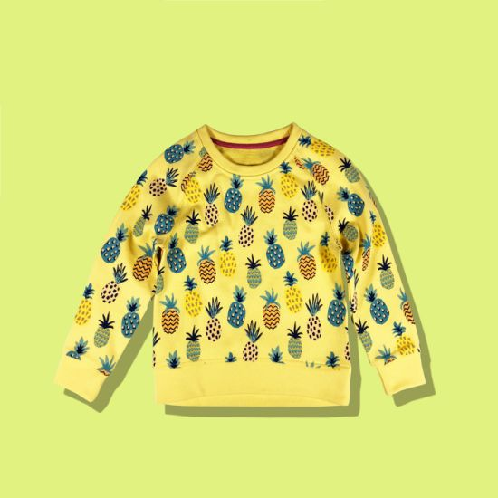 Simple Ananas Contract Color Children Fashion Top Kids Baby Wear Clothes