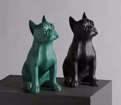 Modern Fashion Atrovirens Navy Blue French British Bulldog Animal Statue