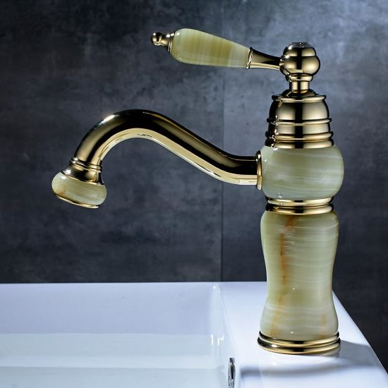 FLG Bathroom Basin Faucet with Crystal Handle Jade Painting Brass