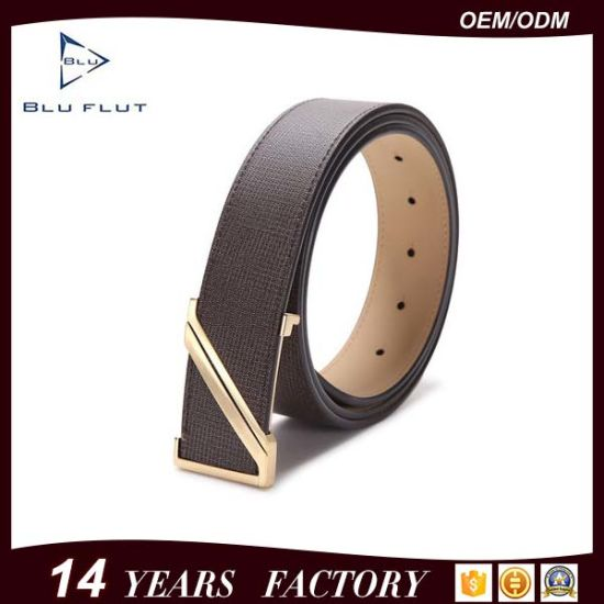 Gold Electroplate Steel Buckle Split Genuine Leather Belts for Men pictures & photos