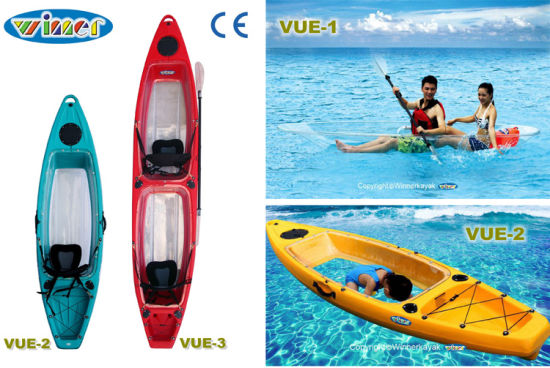 2 Seats Transparent PE+PC Material Kayak with Hatch
