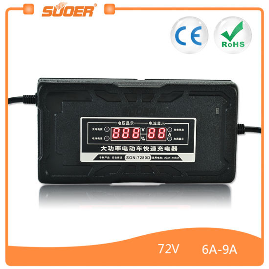 Suoer 72V 6A Electric Bike Smart Battery Charger for Car (SON-7280D) pictures & photos