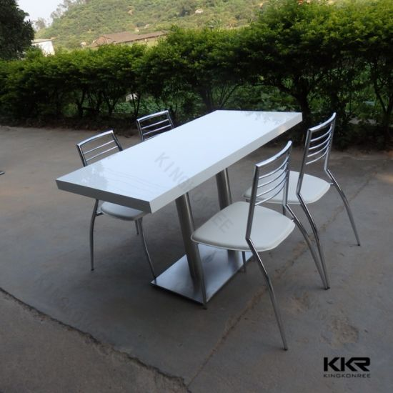 Restaurant Furniture Acrylic Solid Surface 4 Seater Dinner Table