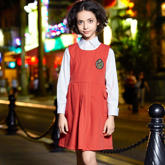 New Design Beautiful Dress Style School Uniform for Girls