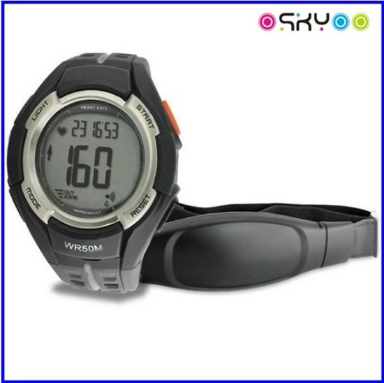 Sports 5.3k/2.4G Pulse Heart Rate Monitor Bracelet Watch with Chest Strap