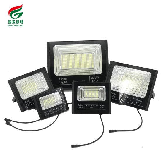 Super Bright Outdoor IP67 Waterproof Park Stadium Waterproof Remote Control High Power SMD LED 25W 200W Solar Light Flood