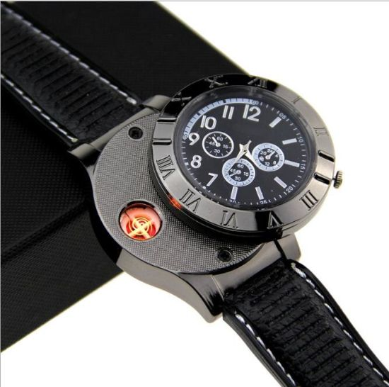 Stylish Creative Promotional USB Rechargeable Lighter Quartz Watch