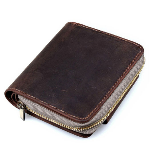 Hot Selling Factory Price Retro Style Brown Leather Coin Holder Leather Wallet pictures & photos