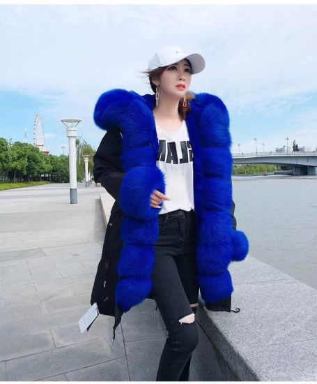 2019 Hot Sell Women Winter Fur Coat with Rabbit Lining Real Fox Fur Jacket Parka