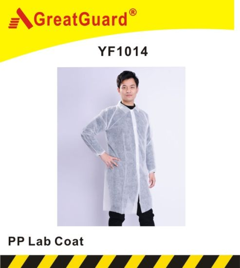 Disposable Lab Coat PP Coat Coverall Overall (YF1014)