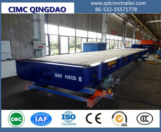 Cimc Port Special Long Vehicle Drawbar Flatbed RO Mafi Trailer with Gooseneck Truck Chassis pictures & photos
