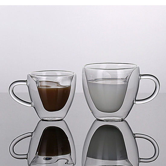 China Unique Heart Shaped Double Walled Insulated Glass Coffee Mugs Or Tea Cups China Coffee Mugs And Ice Cream Cup Price