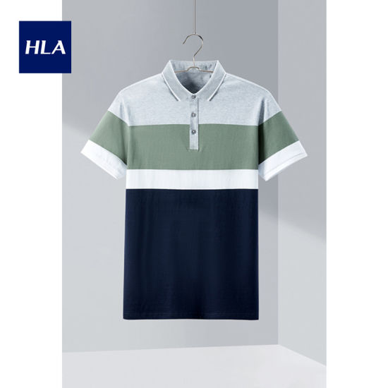 Hla Lapel Striped Polo Shirt 2020 Summer New Skin-Friendly Breathable Short T Male