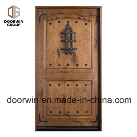 China Custom Size Entry French Doors Solid Wood Front Door With
