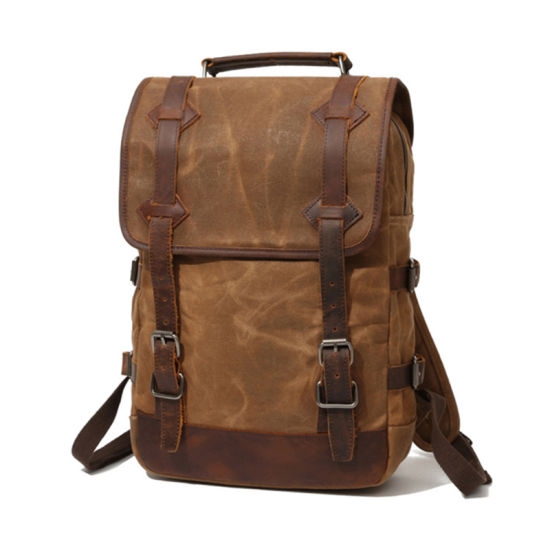 c353b522373f7 Amazon Hot Selling Low Price Vintage Style Leather Mix Waxy Canvas Backpack  Outdoor Backpack