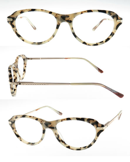 High Quality Acetate Optical Frame with Metal Temples and 180 ° Hinge