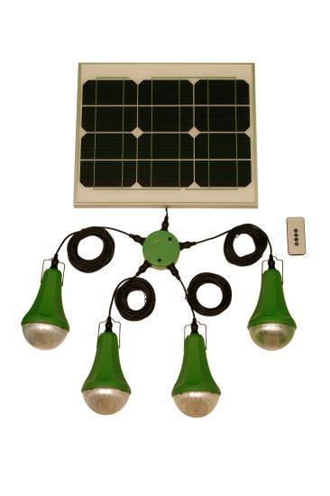 100 Solar System Indoor Home Lighting Systems With 4led Remote
