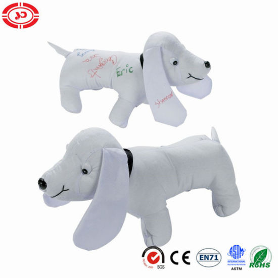 Dog White Puppy Cotton Material Autograph Stuffed Graduation Gift Toy