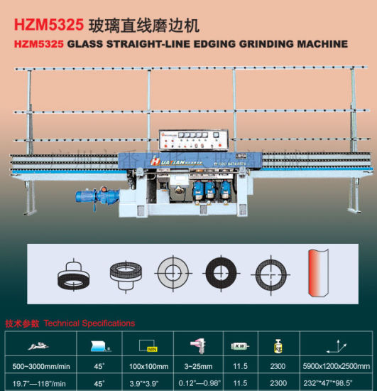 China Glass Machines/Glass Straight Line Flat Edging Machine (HZM5325) K94