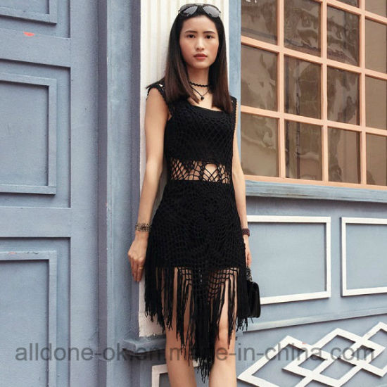 Sexy Cool Fringe Hand Crochet Beachwear Cover up Beach Dress pictures & photos