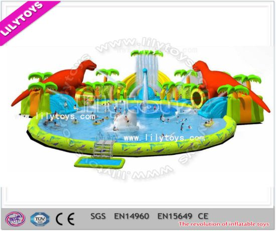 Newest Vivid Dinosaur Inflatable Pool Combined with Inflatable Slide (GWP-018) pictures & photos