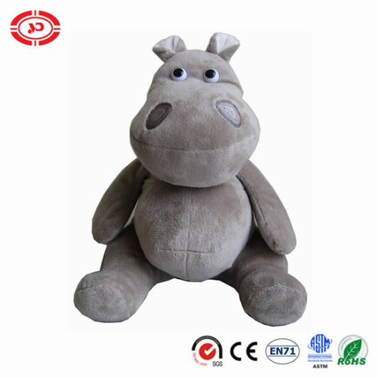 Plush Grey Sitting Lovely Plastic Eyes Hippo Soft Gift Toy pictures & photos