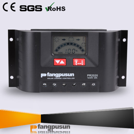 Ce RoHS Steca Fangpusun Pr2020 PWM 12V 24V Rated Voltage Solar Charge Controller 20A