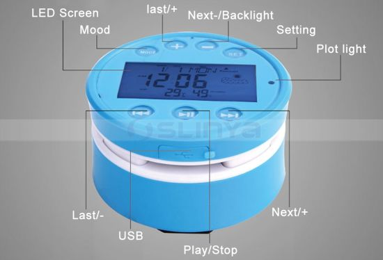 High Quanlity Waterproof Sucker Bass Speakers Touch Screen Bluetooth LCD Speaker with Alarm Clock pictures & photos