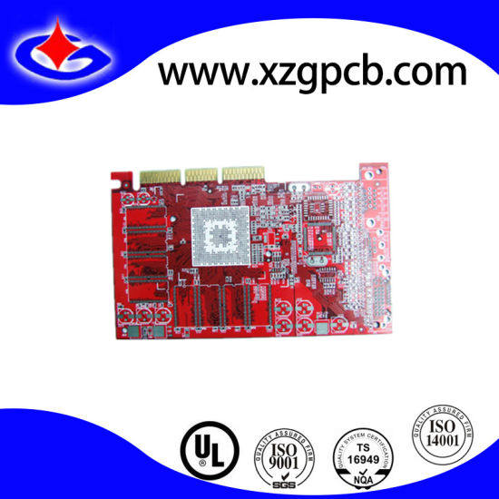 Multilayer Circuit Red Oil Gold Plating PCB Board with BGA