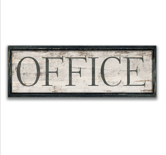 Vintage Wooden Office Sign Framed Out In A Black Painted Distress Frame  Wood Office Decor