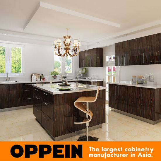 Guangzhou Manufacturer Wood Veneer HPL Wholesale Modular Kitchen Cabinet (OP15-HPL07) pictures & photos