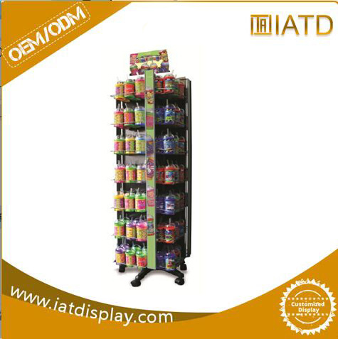 Wholesale Metal Floor Three Sided Rotating Display Stand