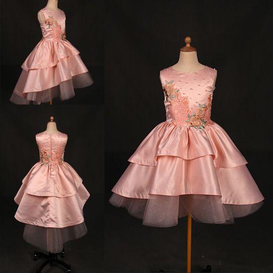 Hot Sale Pink Pearls Satin Little Girl Dress Wt025