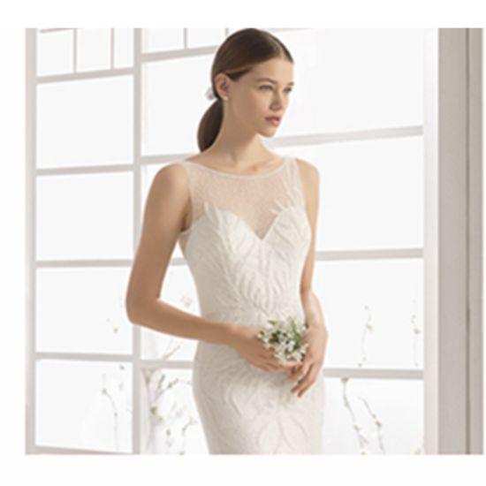 Luxury Backless White Pearl Soft Tulle O-Neck Mermaid Trailing Wedding Dress