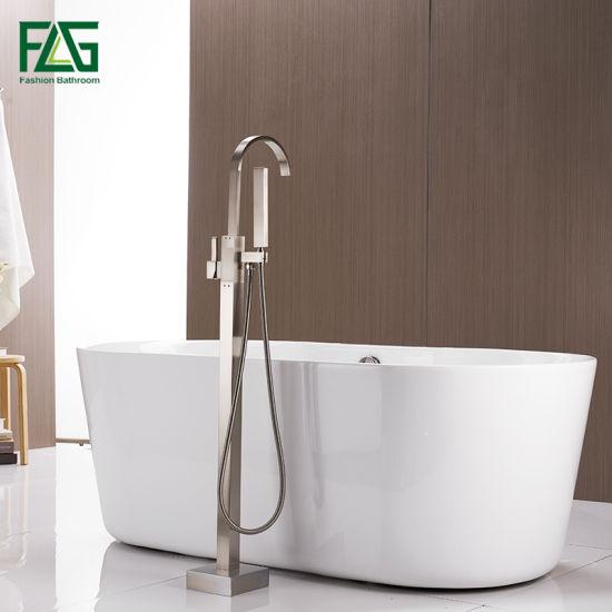 Flg Brass Material Floor Standing Bathtub Faucet Brushed Nickel Shower Set