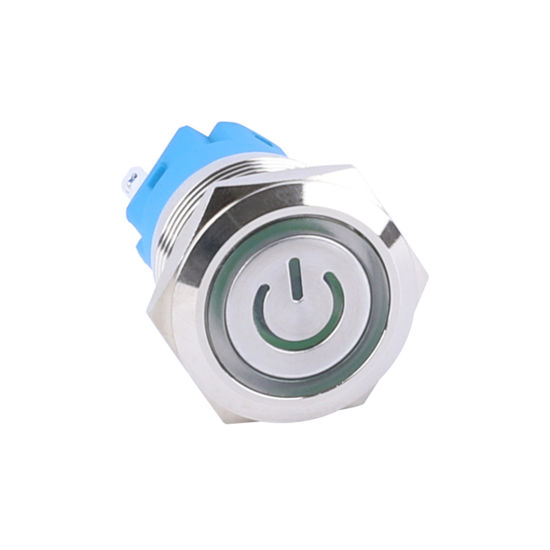 19mm Momentary LED Waterproof 5 Pin Push Button Switch with Power Logo