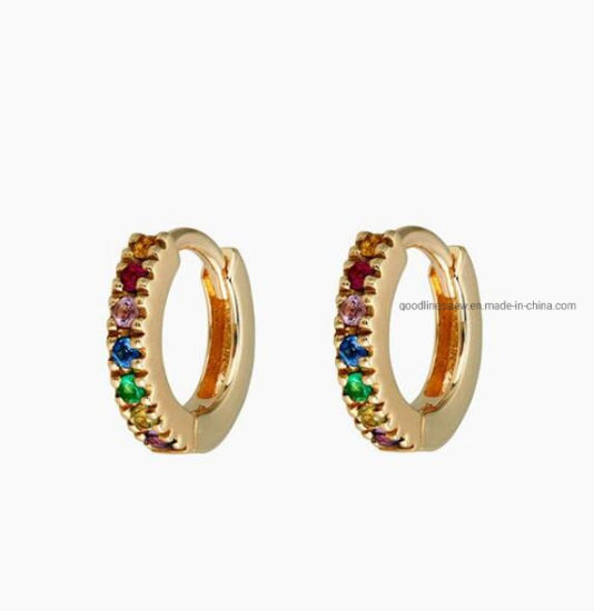 Fashion Jewelry 925 Sterling Silver or Brass Jewelry Color Stones Earrings Hoop Earrings for Women pictures & photos