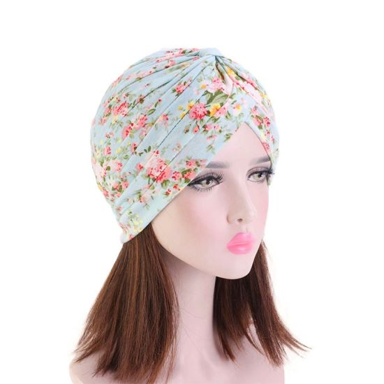 Fashion Womens Cancer Bow Turban Hat Plaid Design with Bowknot Hijab Bandanas Headband Turban pictures & photos