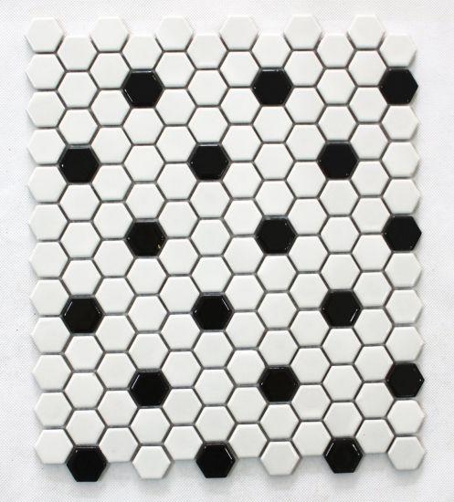 China Nordic Custom Small Hexagonal Ceramic Mosaic Black And White Tiles Kitchen Bathroom Wall Tiles Bathroom Slip Proof Floor Tiles China Mosaic Hexagon