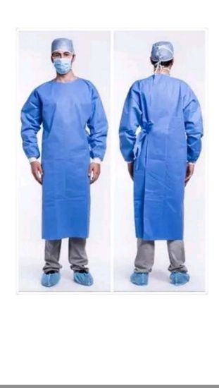 Customized Cheap Color Reinforced Stock Blue Non-Sterile Pet+PA Fabric Medical Surgical Gowns