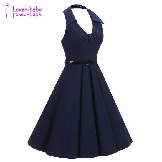 Backless Plunge Halter Vintage Simple Casual Dress L36021