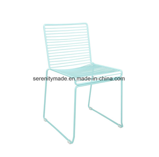 Powder Coated Baby Blue Stackable Metal Wire Cafe Dining Chairs